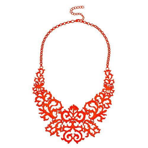 Lux Accessories Orange Filigree Chain Link Statement Necklace -