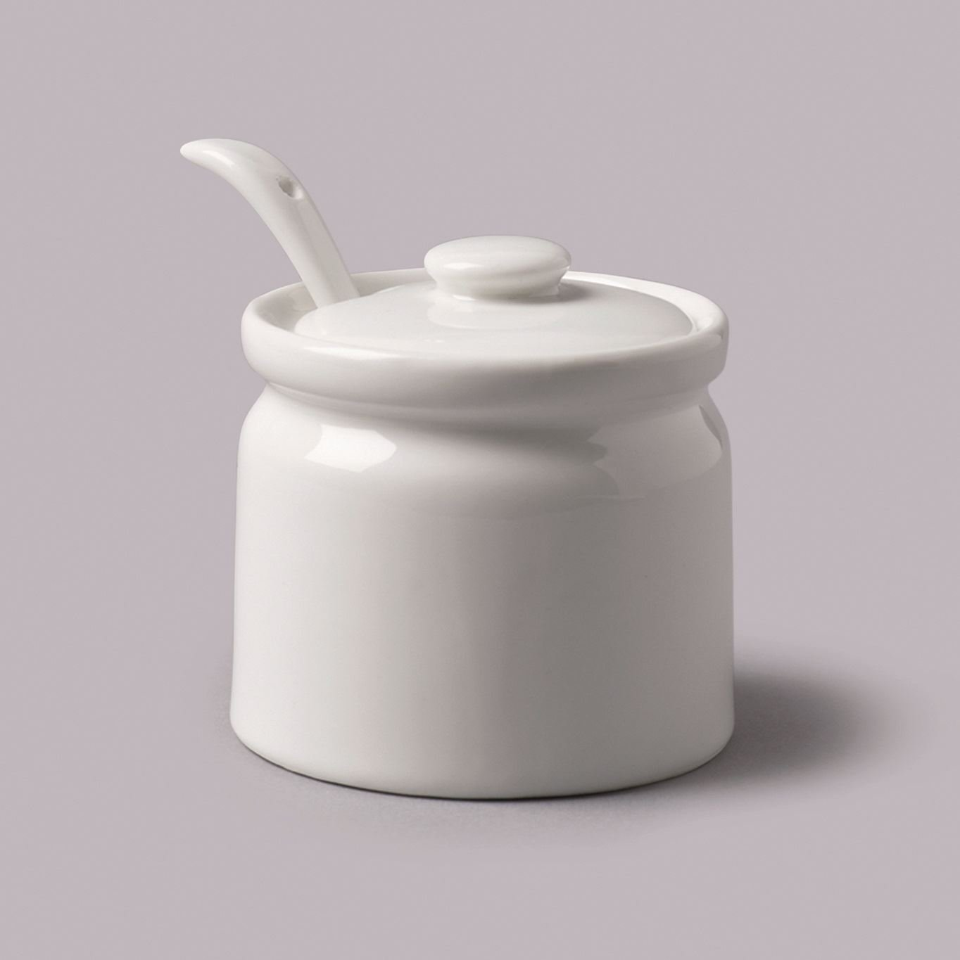 WM Bartleet & Sons Ceramic White Small Sugar Jam Pot with Spoon by WM Bartleet & Sons (Image #1)