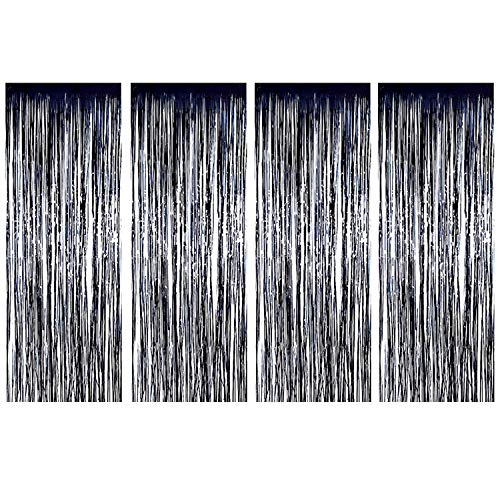 Joyclub Black Foil Fringe Curtain, Metallic Photo Booth Tinsel Backdrop Door Curtains for Wedding Birthday and Halloween Christmas Festival Decoration(4 Pack, 12 ft x 8 ()