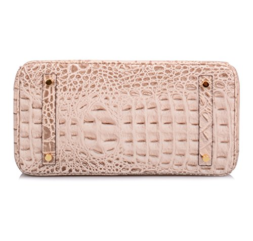 09cf7e92a826 Ainifeel Women's Crocodile Embossed Office Handbag Top Handle Handbag  (35cm, Apricot)