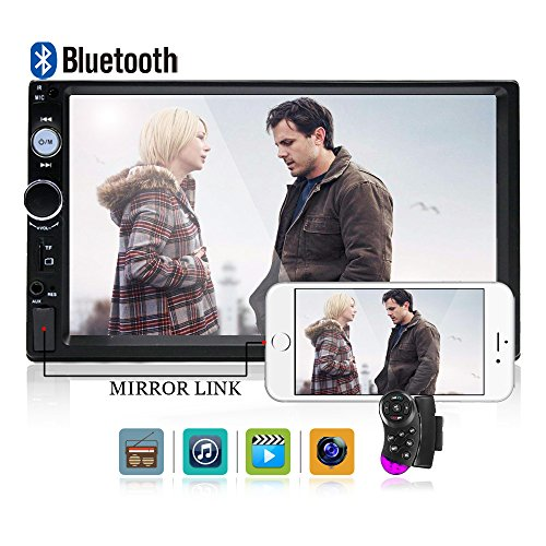 Camecho Double Din Car Stereo, Mirror Link 7'' HD Bluetooth Player Digital Monitor Touchscreen, Support USB/FM/TF/MP5 Multimedia 2 din Mobile Phone interconnection Car Backup Camera+ Remote Control by Camecho (Image #2)