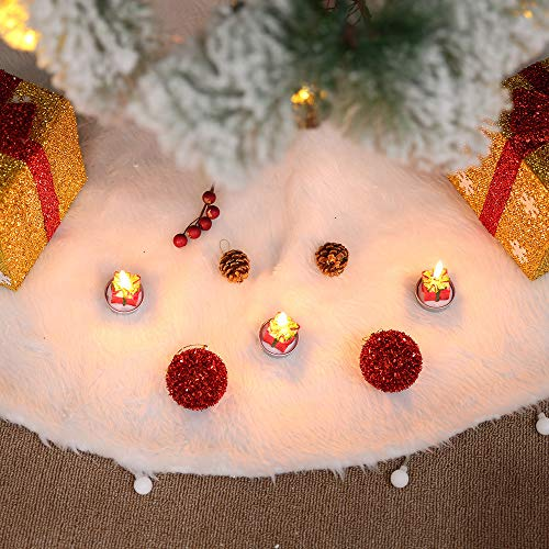 Christmas Tree Skirt Plush Christmas Tree Ornaments Snowman Santa Reindeer Decoration, White Pure Xmas Tree Skirt Mat Christmas Home Party Ornaments (Christmas Tree Skirt)