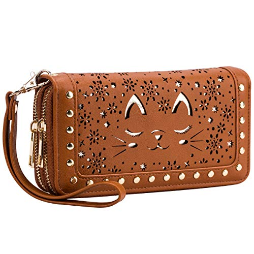 Stud Pouch - Cat Wallet Hollow Floral Wristlet Zip Around Pouch with Perforated Stud RFID Blocking