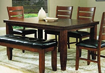 Dining Table With Extension Leaf In Cherry Finish