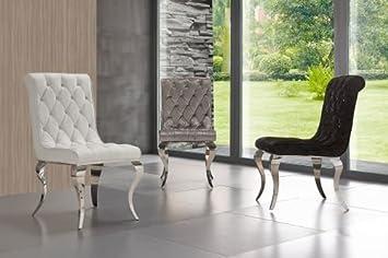 Esszimmerstuhl Valencia Barockstil Mit Strasssteinen Esszimmer Edelstahl  Farbe Silber Samt