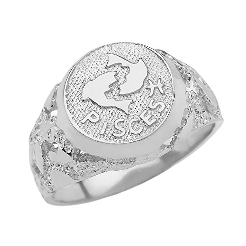 Solid 925 Sterling Silver Pisces Zodiac Sign Band Nugget Men's Ring (Size 7.5)