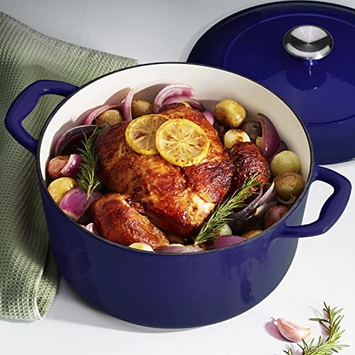 Tramontina 80131 075DS Enameled Cast Iron Covered Round Dutch Oven, 5.5-Quart, Gradated Cobalt