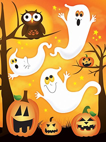 11.75' Art Print Poster (Halloween Themed Ghosts, Jack o' Lanterns, and Owl Window Clings - 17'' x 11.75'')