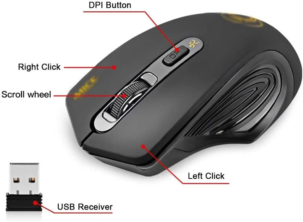 Color : Gray Mice Wireless Mouse Silent Computer Mouse Wireless Ergonomic Mouse USB PC Mause Optical Mice Noiseless Button for PC Laptop