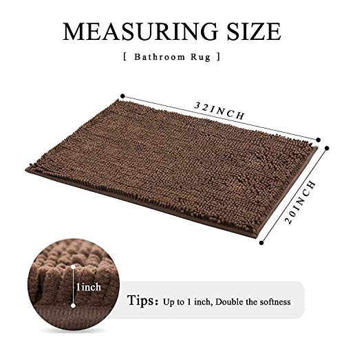HOMEEY Bath Rug, Non Slip Thick Shaggy Chenille Bath Mats for Bathroom, Extra Soft and Absorbent Bathroom Mat, Machine Washable Bath Mats for Bathroom/Kitchen (32 x 20 Inch, Brown)