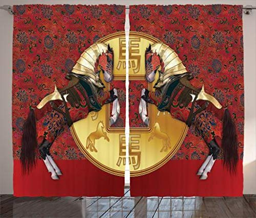 Ambesonne Animal Decor Collection, Chinese Year of the Horse Symbolizes Energy with Royal Gothic Pattern and Gold Masks Art Print, Living Room Bedroom Curtain 2 Panels Set, 108 X 84 Inches, Multi by Ambesonne (Image #2)