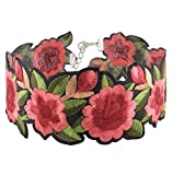 Wink Gal Women's Boho Flower Choker Necklace With Embroidered Delicate Fashion Jewelry (One Size, Flower)