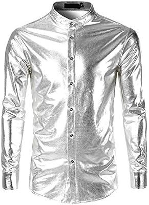ZEROYAA Mens Metallic Shiny Nightclub Slim Fit Long Sleeve Party Shirts
