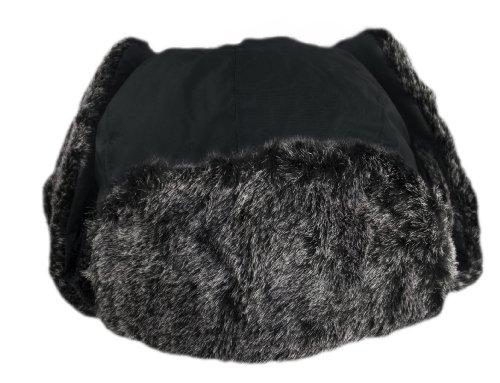 Sehr warme Fliegermütze Wintermütze mit Fell (Schwarz)