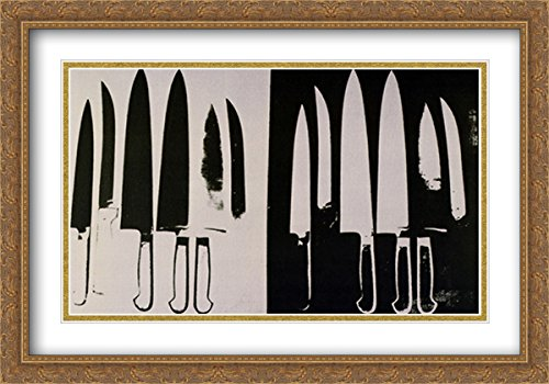 Knives, c. 1981-82 (silver and black) 2x Matted 40x28 Large Gold Ornate Framed Art Print by Warhol, (Andy Warhol Knives)
