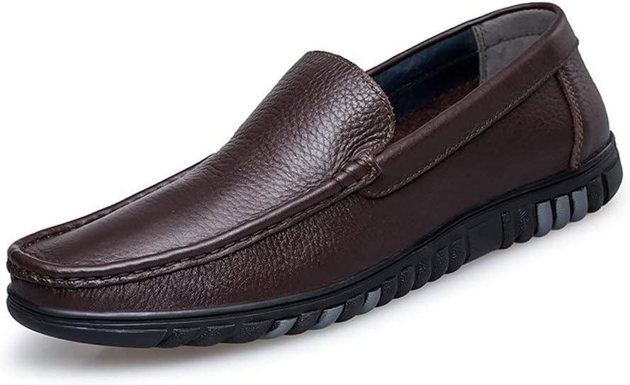 Braun 41 EU SHAMONI-schuhe Driving Loafer for Herren Stiefel Mokassins Slip On Style OX Leder Schlichtes Design Low Top Solid Farbe Lightweight Segelschuhe (Farbe   Braun, Gr&ou ;ße   41 EU)