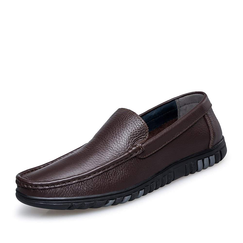 Brown Easy Go Shopping Driving Loafer for Men Boat Moccasins Slip On Style OX Leather Simple Design Low Top Solid color classic Cricket shoes (color   Black, Size   6 UK)