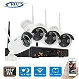 PLV 4PCS 720P Wireless Outdoor IP Camera System with 4 Channel Security HD Network IP NVR Wifi Kit Support Smartphone Remote View 100ft (30m) Night Vision