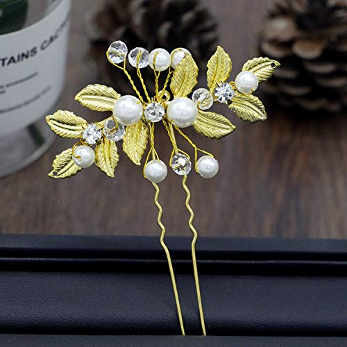 Handmade Women Bridemaid Wedding Party Olive Leaf Pearl bead Bridal Hairpin Clip