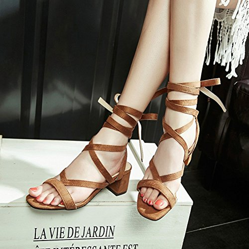 Gladiator Chunky Stylish Mid Sandals Strappy Yellow Faux Tie Suede Self Easemax Womens Heel Z1aqw1A