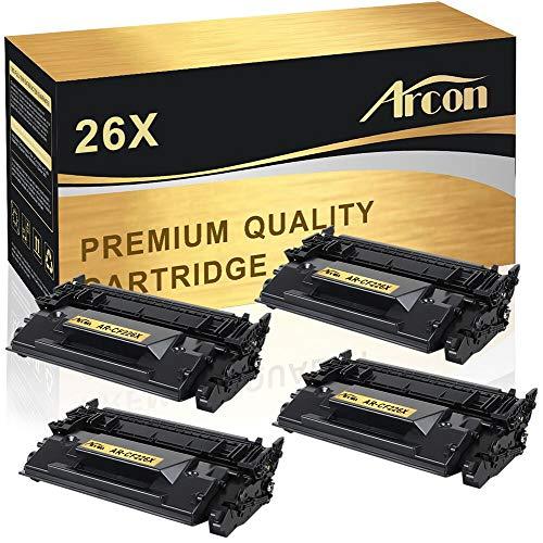 Arcon Compatible Toner Cartridge Replacement for HP 26X CF226X 26A CF226A MFP M426fdw M402n Toner for HP Laserjet Pro M402n M402dn M402dw M402d, MFP M426dw M426fdw M426fdn 26X CF226X Toner Printer-4PK