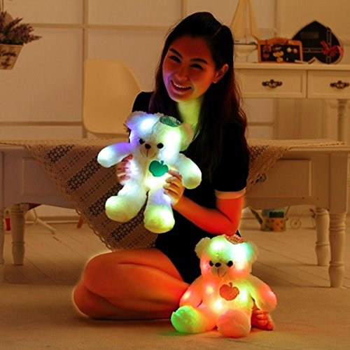 Wewill Adorable LED Light up Glow Teddy Bear, Teddy Bear Little Stuffed Toys, Stuffed Plush Toy with Colorful Flash LED Light , Stuffed Animal Toy Gifts for Children's Day 15-Inch (Pink)