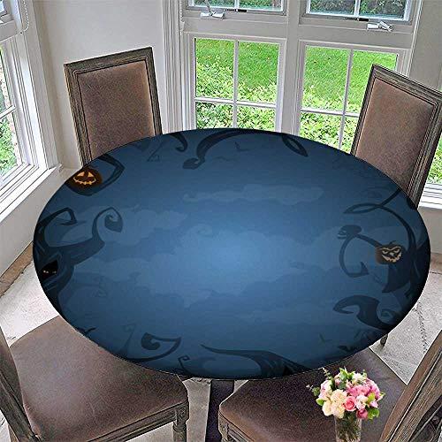 Round Polyester Tablecloth Table Cover Blue Halloween Background with Place for Text Trees Clouds Bats for Most Home Decor 31.5