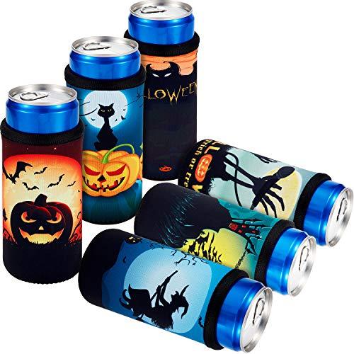 Halloween Beer Koozies (6 Pieces Halloween Neoprene Insulators Halloween Beer Bottle Sleeves Pumpkin Beer Can Sleeves for Halloween)
