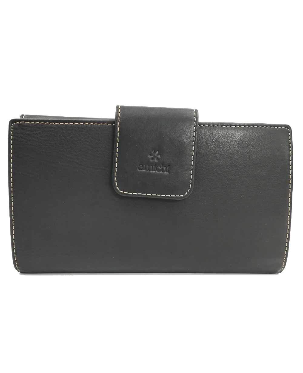 Amichi Floater Cartera Monedero Piel Negro 20cm: Amazon.es ...