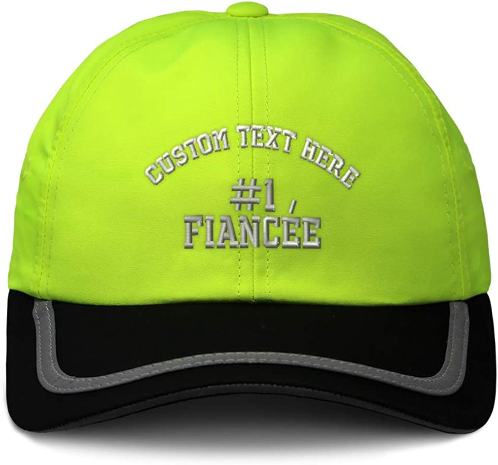 Custom Reflective Running Hat Number #1 Fiancee Embroidery Polyester One Size