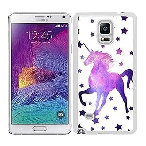 Funda carcasa TPU (Gel) para Samsung Galaxy Note 4 estampado estrellas con unicornio fondo nebulosa borde blanco