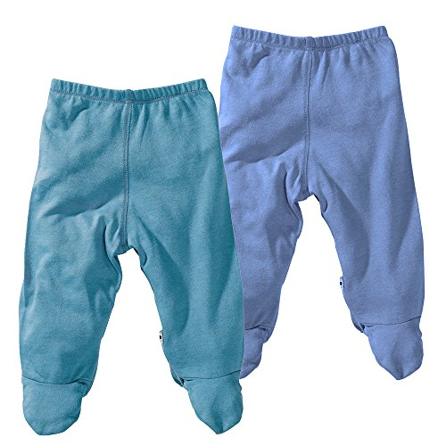 Tee Cotton Organic World (Babysoy Comfy Basic Footie Pants Unisex 2 Packs (6-12 Months, Ocean/Lake))
