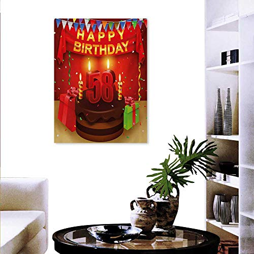 Mannwarehouse 58th Birthday The Picture for Home Decoration Celebration Birthday Party Surprise Chocolate Cake Fun with Friends Design Wall Stickers 20