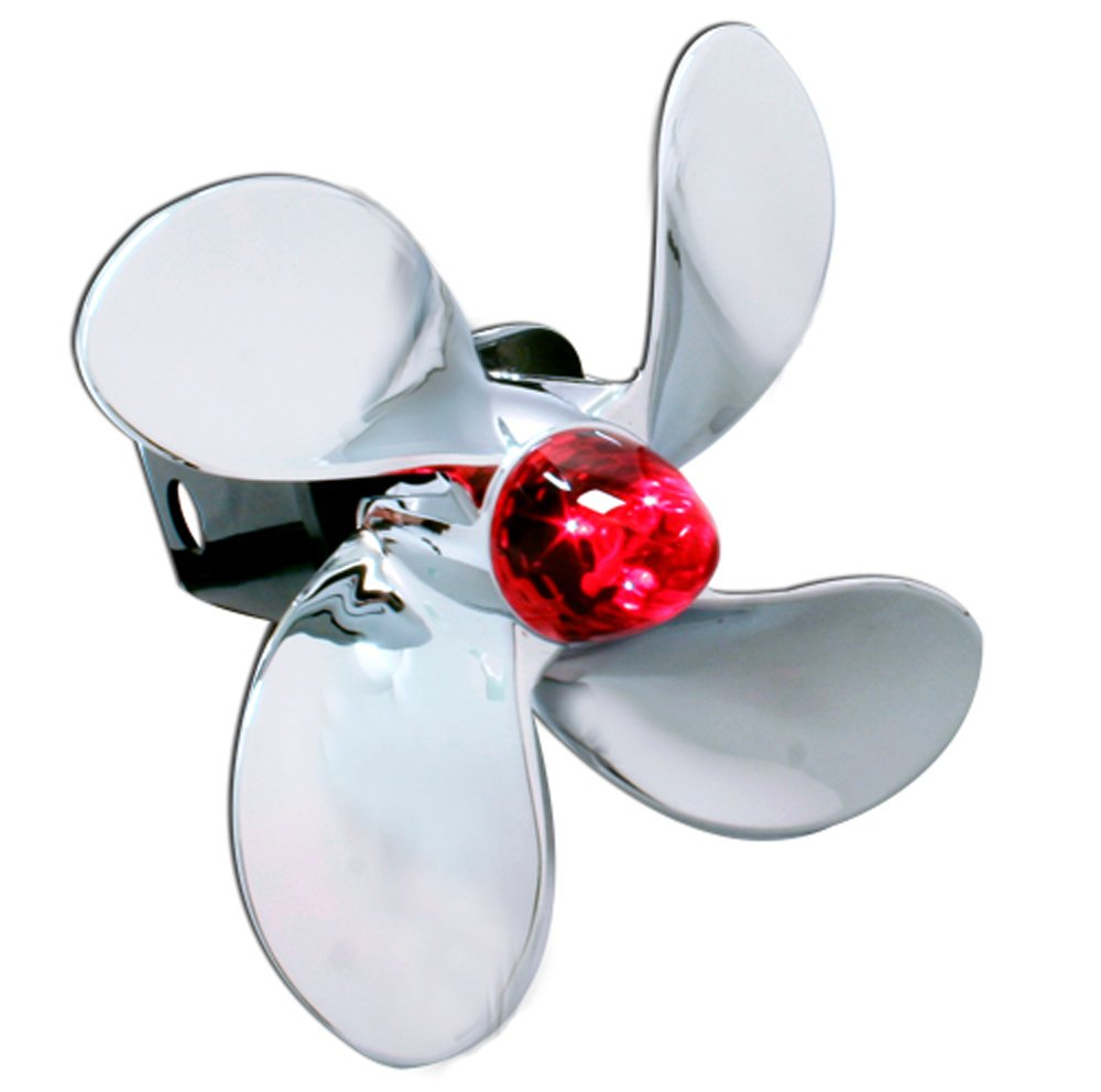 Bully CR-402L Chrome Boat Propeller Funny Trailer Truck Towing Hitch Receiver Cover with Plug In LED Brake Lights for Chevy, Dodge, GMC, Ford, Toyota, and Others by Bully