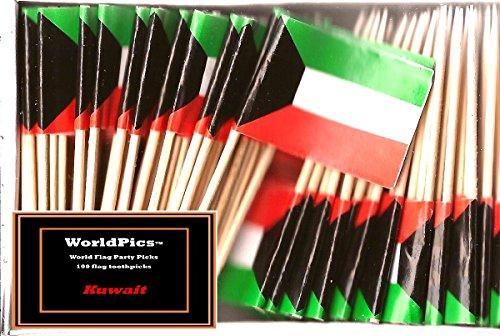 One Box Kuwait Toothpick Flags, 100 Small Kuwaiti Cupcake Flag Toothpicks or Cocktail Picks (Kuwait Pick)
