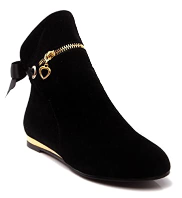 Women's Sexy Solid Round Toe Bow Zipper Charms Low Heel Ankle Boots
