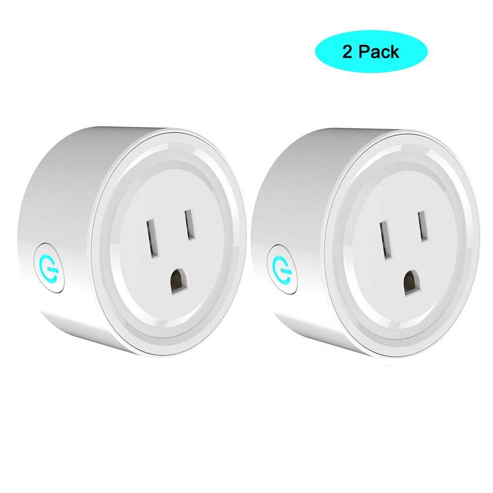 WiFi Smart Plug Outlet 2-PACK JCBritw Mini Power Socket Outlet Timer Digital Echo Switches Remote Control, Compatible with Alexa Echo Dot Works with Google Assistant, No Hub Required