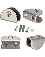 Euro Tische Plankhouder glazen plankdrager roestvrij staal - stabiele plankdragers voor glas- en houten vloeren - (4 stuks)