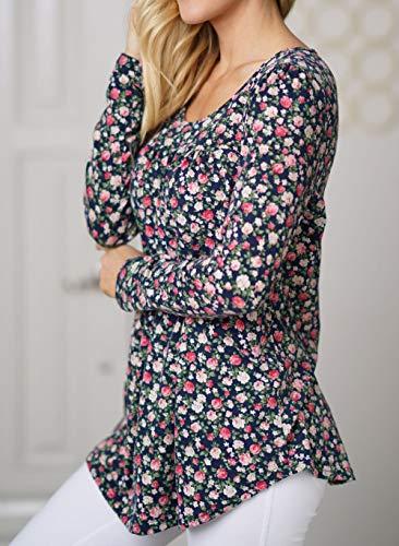 Femmes et Tee Col Marin Tunique Bleu Chemisiers Manches T Printemps Blouses Mode Tops Blouse Shirt Hauts Imprime Automne Casual Longues Jumpers Rond EwI14ndaq