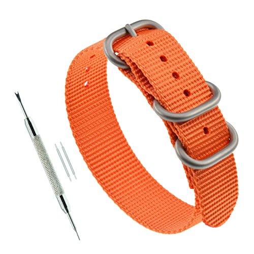 24mm Orange Thick NATO Style Nylon Bracelet Strap Replacement Wrist Watch Band