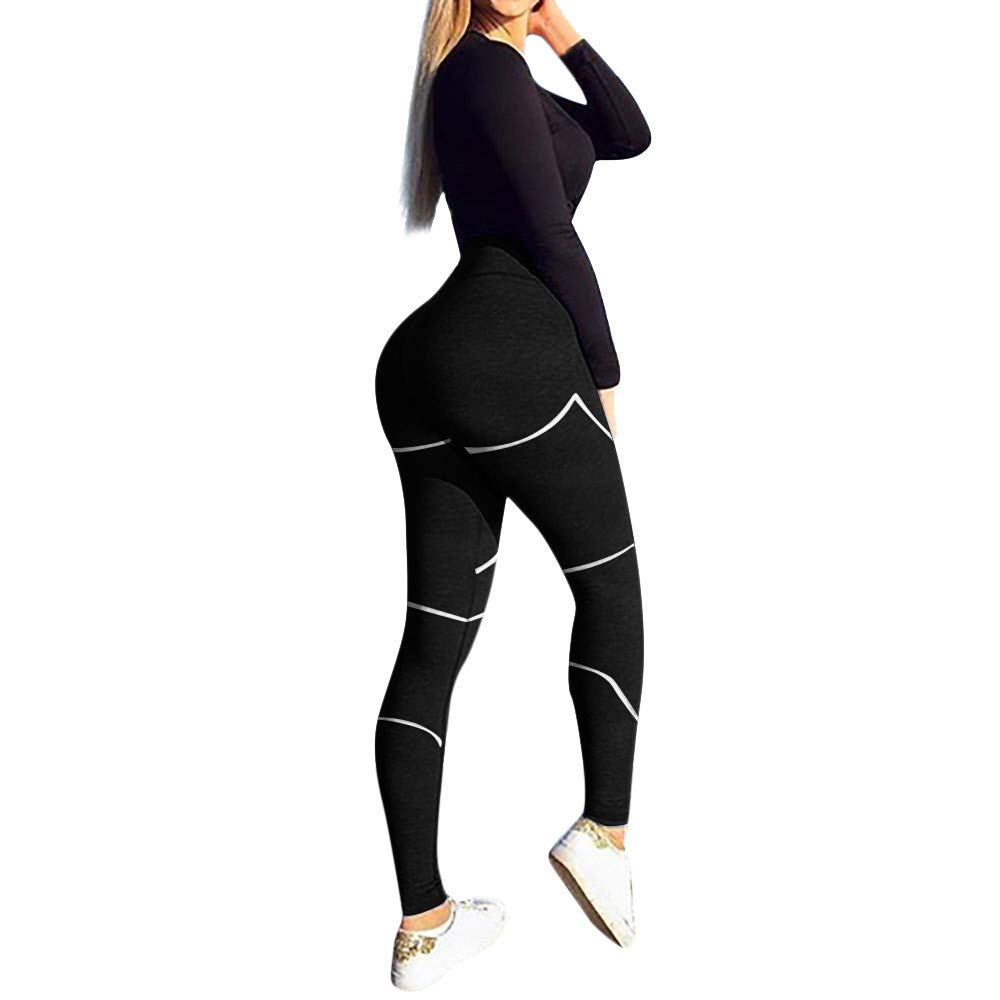 Women's High Waist Yoga Pants Butt Lifting Tummy Control Slimming Booty Leggings Workout Running Leggings Tights Black