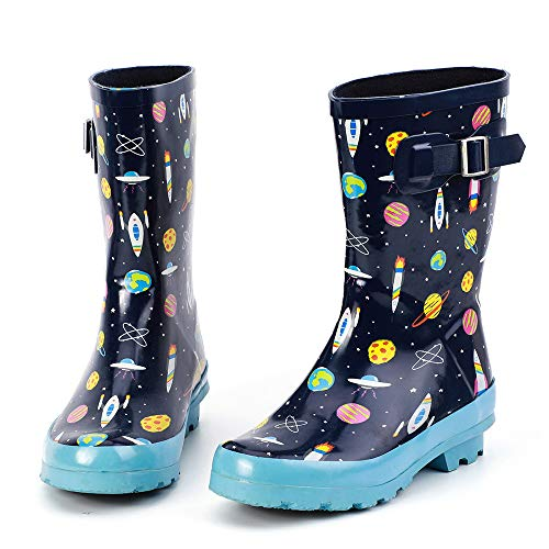 ALEADER Kids Waterproof Rubber Rain Boots for Girls, Boys & Toddlers with Fun Prints & Handles Blue/Universe 5 M US Big Kid (Boys Rain Boots Size 5)