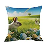 ZLOLIA Happy Easter Sofa Bed Home Decoration Festival Pillow Case Cushion Cover (L)