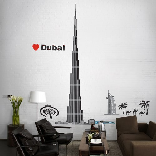 Easy Instant Home Decor Wall Sticker Decal Burj Khalifa Love Dubai Package Of 2 Sticker