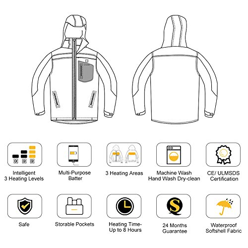 OUTCOOL Men's Soft Shell Heated Jacket Kit With Hood Waterproof Windproof Winter Jacket(XL) by OUTCOOL (Image #5)