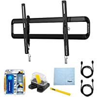 Sanus 51-80 Premium Series Tilting Flat Panel Mount (VLT5) with Performance TV/LCD Screen Cleaning Kit, Magnetic Stud Finder, Carpenter Pencil, Microfiber Cleaning Cloth & 2x HDMI to HDMI Cable 6