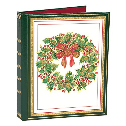 Caspari Wreath Embossed Christmas Card Address Book, 1 Holiday Card List Book with Inserts