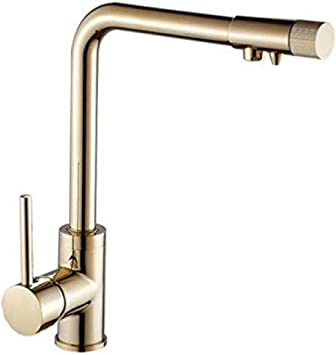 Grifo de cocina Grifo de bañera de oro de 3 vías con purificador ...
