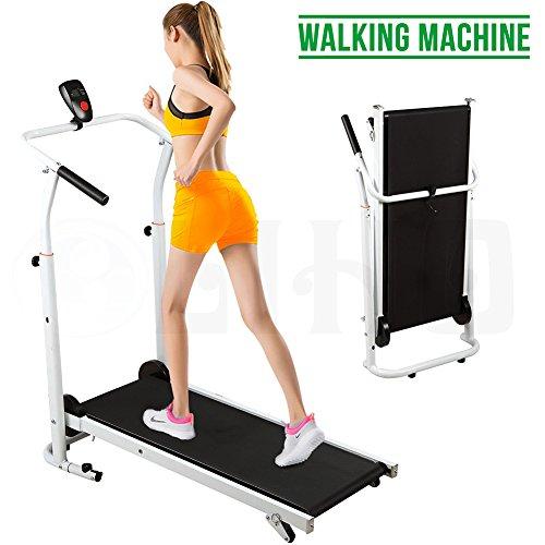 Esugar Portable Folding Manual Treadmill Incline Walking Running Fitness Gym Machine BN