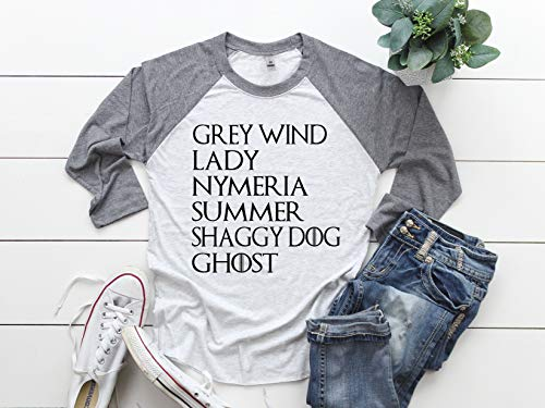 (GOT Dogs Unisex Raglan Shirt | Greywind | Lady | Nymeria | Summer | Shaggy Dog | Ghost Raglan | Casual Shirt | Raglan | Baseball Shirt)